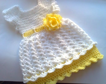 crochet baby dress, christening dress, white yellow dress, yellow baby dress, baby shower, yellow white baby, yellow infant outfit,