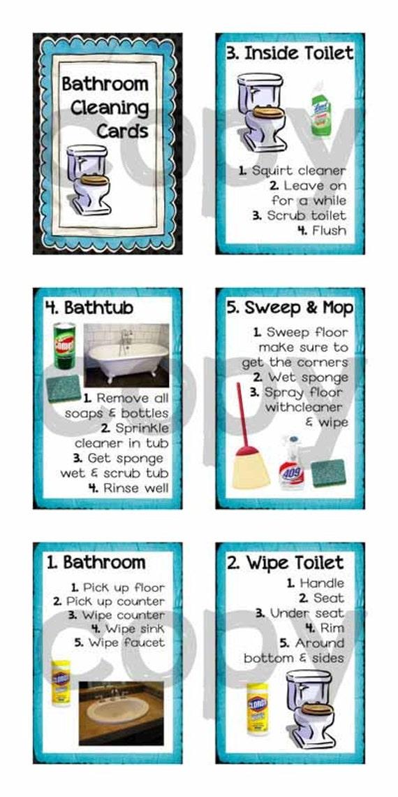 Step By Step Bathroom Cleaning Cards For Kids By Elevateeveryday