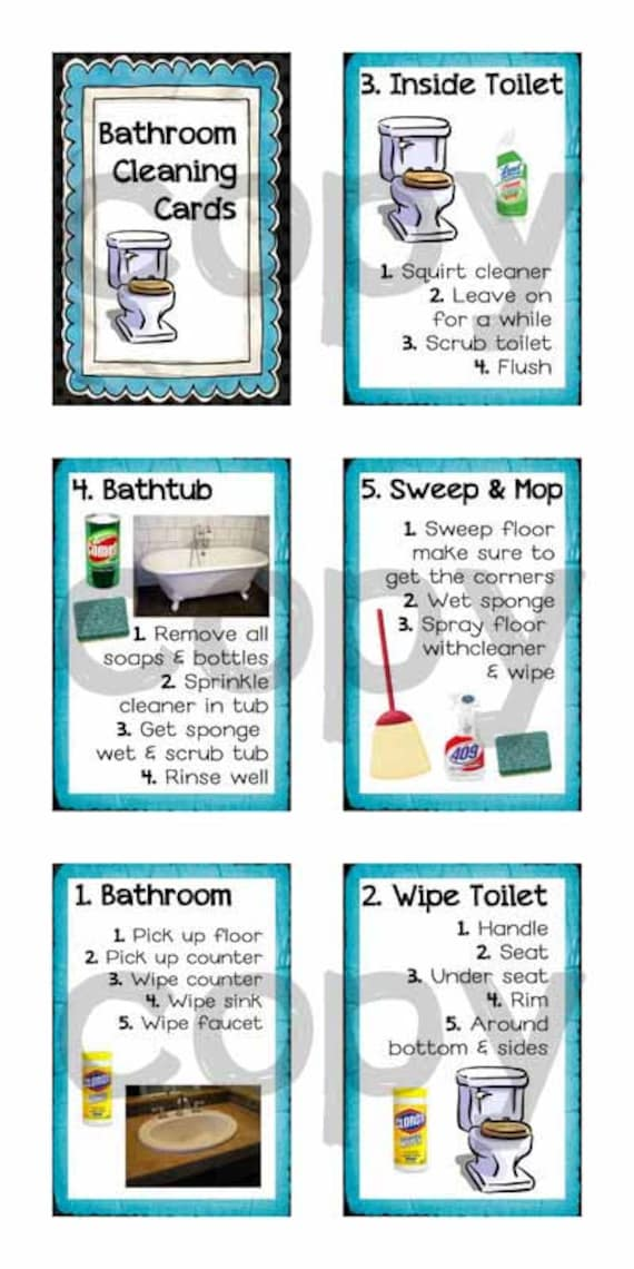 Step by step bathroom cleaning cards for kids by elevateeveryday for How to clean a bathroom step by step