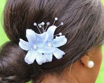 """small blue silk flowers with pearl detail and pearl spray, """"Clarise"""""""