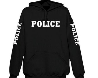 Police Hoodie 4 sided White Letters