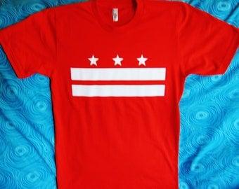 District of Columbia Flag T Shirt:  Washington, DC (Red)
