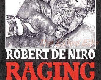 Pencil drawn alternative Raging Bull poster