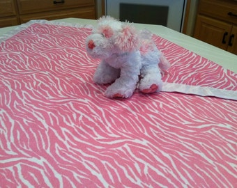 Clearance,i took 10.00 off this Beautiful and fun zebra print minky and satin blanket set with a matching security blanket pink white