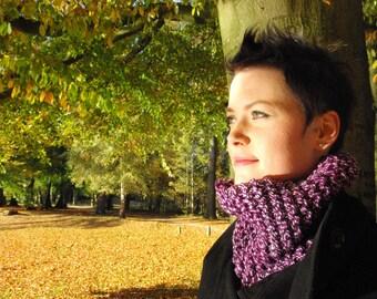 Purple cowl, knit neckwarmer in light and dark purple, acryl, for women