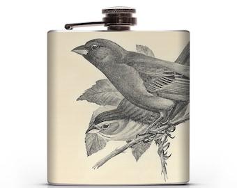 Vintage Indigo Bunting Birds- 6oz Hip Flask