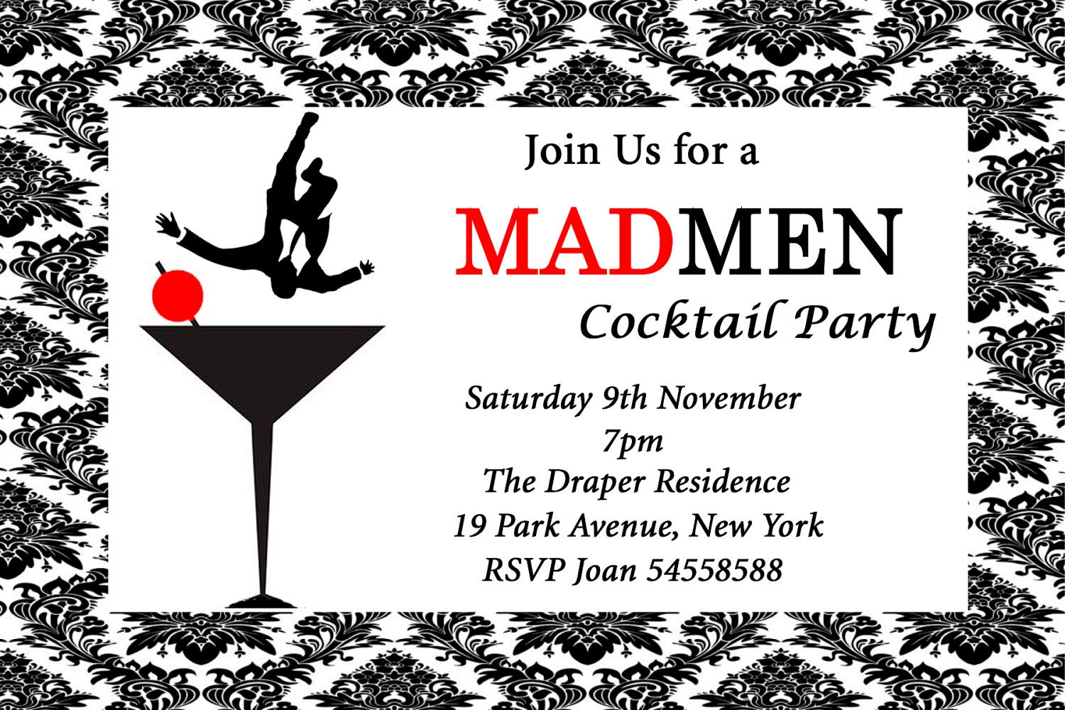 Mad Men Inspired Birthday Cocktail Party Event Invitation