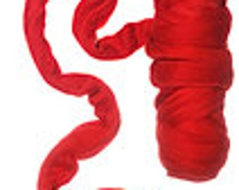 Merino wool roving 19 microns ,Color:Tomato Red