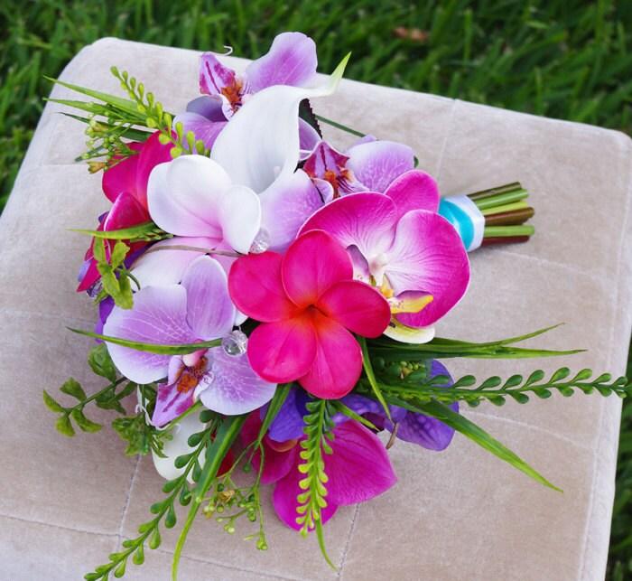 Wedding Silk Plumeria Bouquet Fuchsia And Lilac Natural
