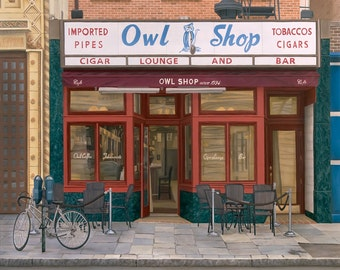 The Owl Shop New Haven: Signed & numbered limited edition print of an original oil painting.