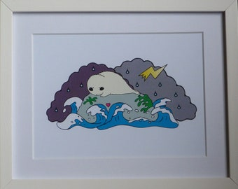 Stranded Seal Illustation print A5