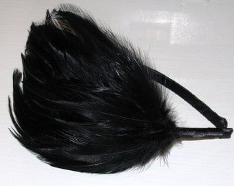 Black Feather Headband Fascinator Feathers Slim Hair Band Handmade Hair Accessory