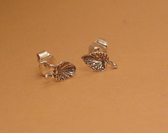 tiny leaf stud earrings sterling silver leaf earrings nature jewelry