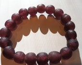 Purple Ghana Glass Bead Bracelet