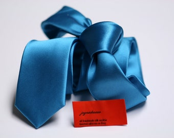 SKINNY Turquoise Tie in Fine Twill