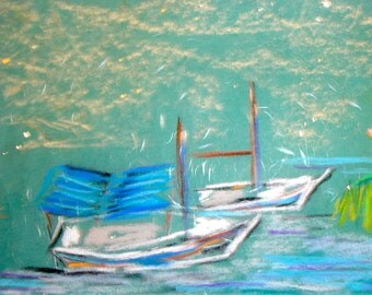 Greek Wooden Fishing Boats- 20 x 15cm Caiqui Greek islands Art Travel Mediterranean Pastel