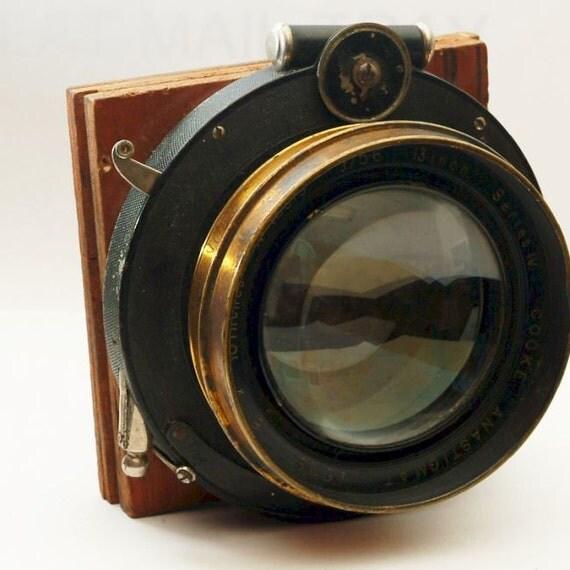 """Vintage Brass Lens Cooke 13"""" f5.6 Series IV 8x10 lens in Shutter for Large Format Camera"""