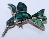 Sterling Silver and Malachite Hummingbird Brooch - Mexico - Betsysbijoux