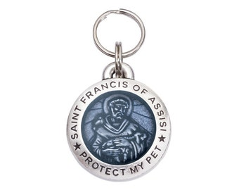 Pewter Saint Francis Pet Tag - Light Blue