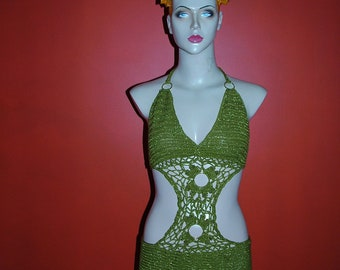 olive green halter dress with gold beading