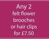 Handmade Felt Flower Brooch or Hair Clip