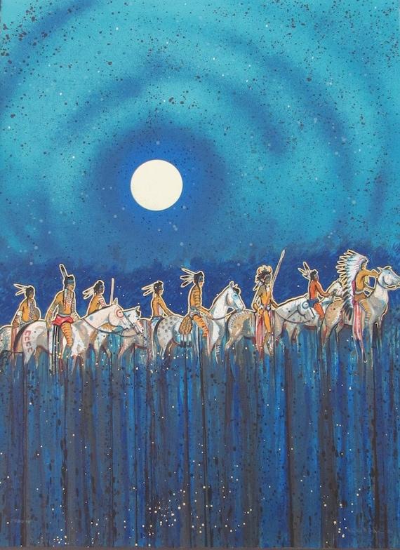 Star Full Colorful Deck Major Arcana Stock Illustration: Kevin Red Star Full Moon Riders Original Serigraph