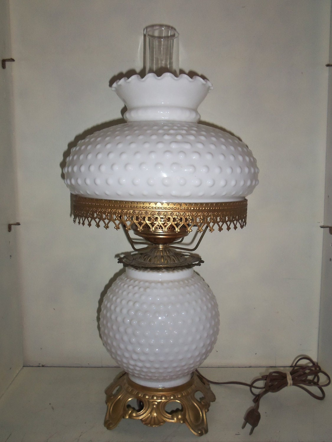 Vintage Hobnail White Milk Glass Gone With The Wind 3 Way