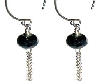 Lightweight sterling silver and faceted black onyx earrings.