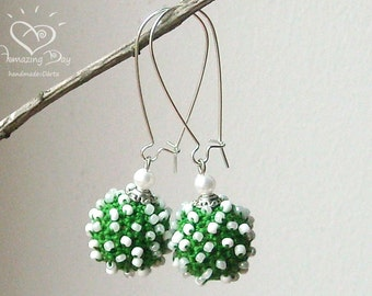 Green, White EARRINGS. Crocheted Christmas gift. 2017 Trend earrings. Dotted crochet ball Jewelry. Funny SPRING Earrings dangle crochet ball