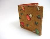 Woodland Mushroom - Bifold fabric wallet - farmer style, country boy