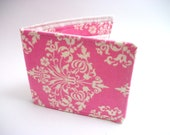 Pink Champagne Damask - Bifold fabric wallet - sweet girls wallet