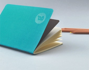 Turquoise Pocket Notebook - Handmade and Letterpressed printed