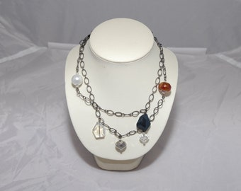 Gunmetal and Crystal Beads Necklace