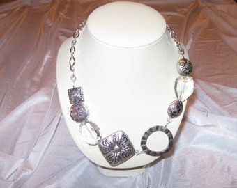 Pewter and Crystal Necklace