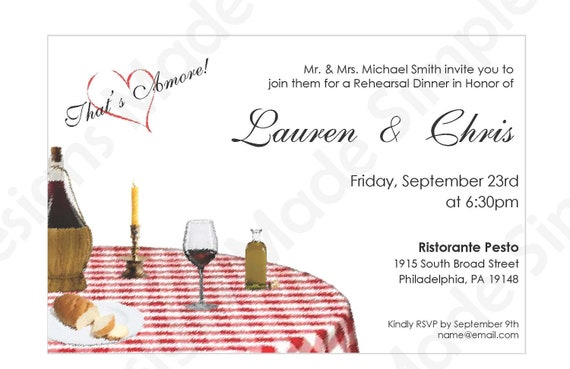 Wedding Welcome Dinner Invitation Wording: Italian Rehearsal Dinner Invitation Printable