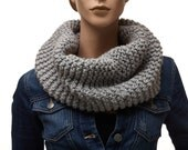 Women's Gray Knit Snood / Infinity Scarf / Knit Scarf / Handmade Scarf