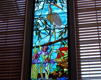 Heron Stained Glass Panel
