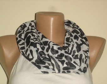 Multicolor Infinity Scarf  - Black White Scarf -  Fashion Scarves For Women - Cowl  Scarf