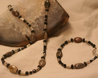 Earthy Jaspers, Silver and Black Jewelry Set (1004)