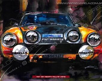 "Fiat 124 ""Abarth Rallye"" (1972) - Fine art print by Rafael Varela"