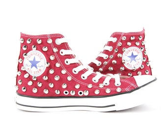 Original Converse AllStar Chuck Taylor high top studded  Converse stud sliver spike on Burgundy Shoes