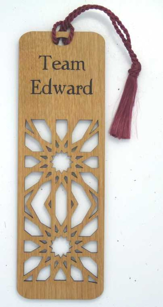 Inspired by Twilight Wooden Engraved Bookmark Team Edward