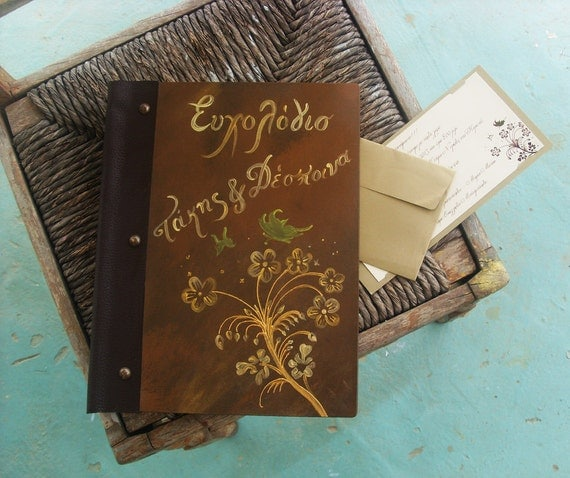 Custom Wedding GUEST BOOK - Totally Handmade and Handpainted