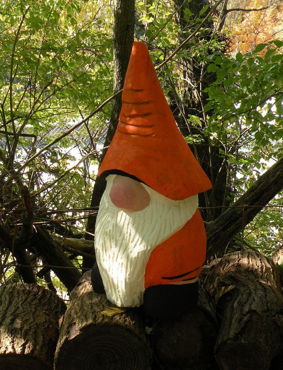 Items similar to gnome maple chainsaw carving on etsy