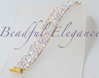 Crystal Clear Diamond Color Daulton Swarofski Crystal Woven Beaded Bracelet Wedding Accessory Accent