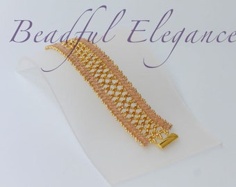 Gold and Peach Pink Empress Swarofski Crystal Woven Beaded Bracelet Wedding Accessory Accent