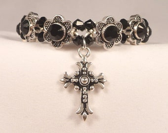 Swarovski Crystal Black Daisy Prayer Bracelet 6-3/4 inch