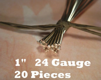 10% OFF ;). Sterling Silver 1 Inch Headpin 24 Gauge Flat , 20 Pieces