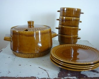Czechoslovakia soup tureen, bowls and plates