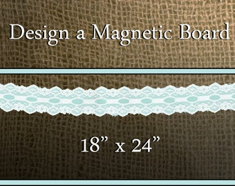 "Design a Magnetic Board: 18"" x 24"" - You Pick Frame & Burlap Colors - Magnetic Message Memo Board - Framed Magnetic Memo Board Organizer"